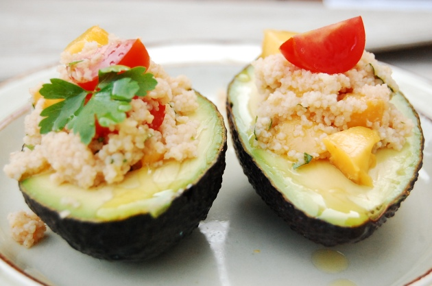 Vegan Avocado Filled with Couscous or Quinoa