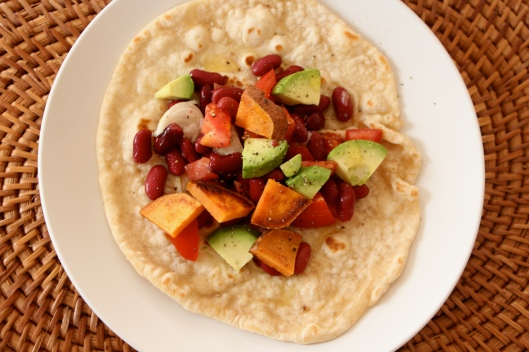 Avocado, Tomatoes and Beans Tortilla