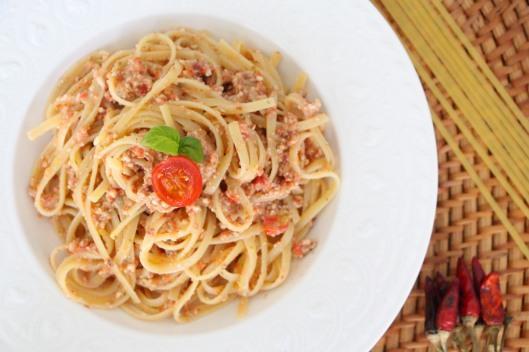 vegan pasta with almond pesto