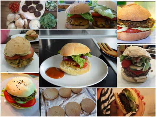 vegan burgers made by different people