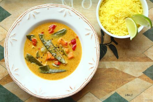 vegan thai curry with lemon rice