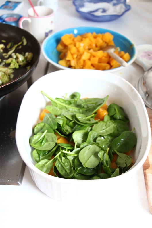 preparaing butternut squash and spinach