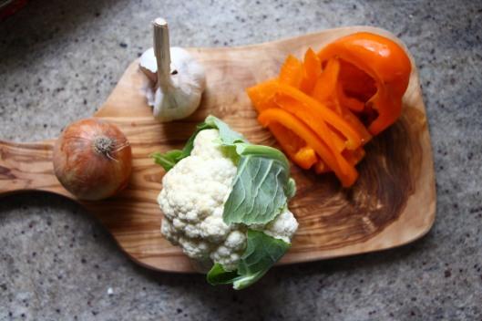 Cauliflower, Pepper, Onions and Garlic