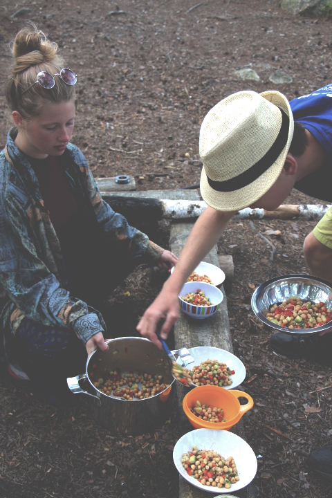 chickpea salad while camping