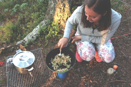 cooking in the woods